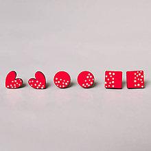 Náušnice - mini set I (červený s bielymi bodkami) - 10433381_