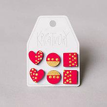 Náušnice - mini set I (červený so zlatými bodkami) - 10433388_