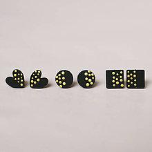 Náušnice - mini set I (čierny so zlatými bodkami) - 10433402_