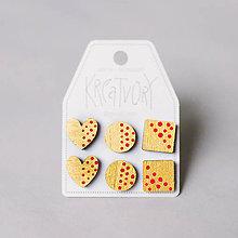 Náušnice - mini set I (zlatý s červenými bodkami) - 10433429_