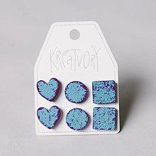 Náušnice - mini set I (modrý s fialovou patinou) - 10433440_