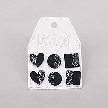 Náušnice - mini set I (čierny