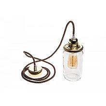 Svietidlá a sviečky - Stropné svietidlo s tienidlom vo forme zaváraninového pohára, zlaté prevedenie - 10433466_