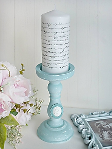 Svietidlá a sviečky - Svietnik vintage so sviečkou - 10433982_