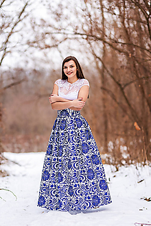 Sukne - Dámska sukňa dlhá  modré kvety - 10431447_
