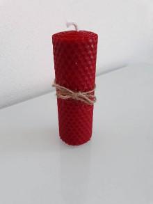 Svietidlá a sviečky - Červená sviečka 12x4 cm - 10430697_