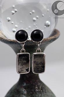 Náušnice - Náušnice s ónyxom a chalkopyritom - 10435087_