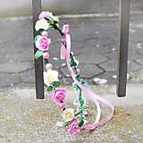 Ozdoby do vlasov - Romantický ružový ružičkový venček s perličkami - 10436130_