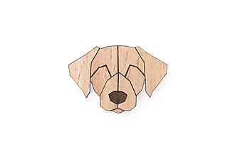 Odznaky/Brošne - Drevená brošňa Labrador Brooch - 10436424_