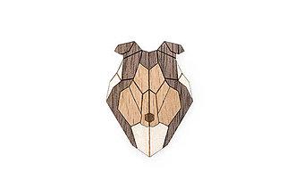 Odznaky/Brošne - Drevená brošňa Collie Brooch - 10436442_