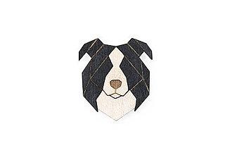 Odznaky/Brošne - Drevená brošňa Border Collie Brooch - 10436473_