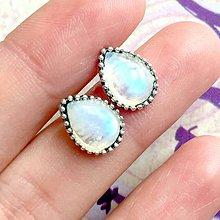 Náušnice - Moonstone Teardrop Stud Earrings / Náušnice slzy s mesačným kameňom #1515 - 10435126_