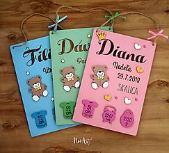 Dekorácie - Tabuľka pre bábätko s údajmi o narodení dievčatko 5 - 10434892_