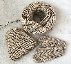 Čiapky - Čiapka , nákrčník a rukavice béžová - 10436490_