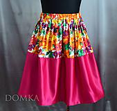 Sukne - Dámska sukňa ružova/kvety - 10438009_