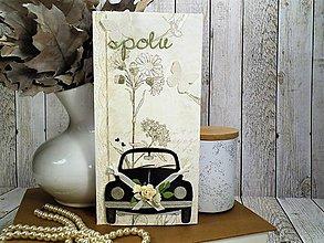 Papiernictvo - Svadobné auto pohľadnica - 10435531_