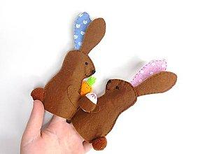 Hračky - Bábky na prsty: Veľkonočné zajačikovia (Hnedá) - 10434789_