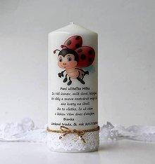 Svietidlá a sviečky - Dekoračná sviečka pre pani učiteľky v škôlke - Lienková trieda - 10437535_