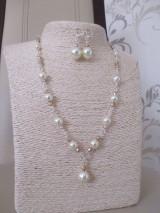 Sady šperkov - Náhrdelník s náušnicami v béžovo zlatej farbe - 10437345_