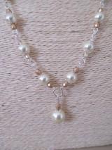 Sady šperkov - Náhrdelník s náušnicami v béžovo zlatej farbe - 10437346_