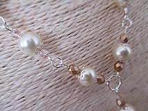 Sady šperkov - Náhrdelník s náušnicami v béžovo zlatej farbe - 10437370_