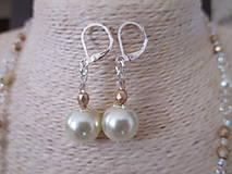 Sady šperkov - Náhrdelník s náušnicami v béžovo zlatej farbe - 10437372_
