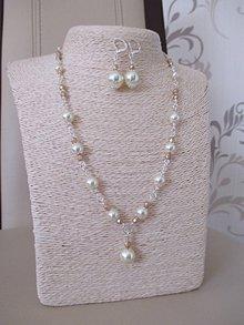 Sady šperkov - Náhrdelník s náušnicami v béžovo zlatej farbe - 10437344_