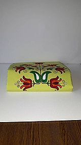 Úžitkový textil - Maľovaný obrus stredový - žlto zelený, 40 x 140 cm - 10435950_