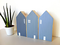 Dekorácie - Kobaltovo šedé škandinávske domčeky - 10435418_
