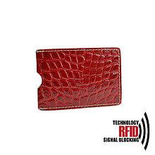 Peňaženky - RFID ochranné púzdro na karty, tmavo červené croco - 10436941_