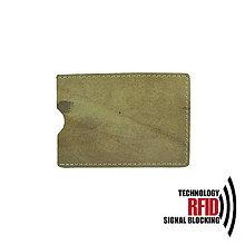 Peňaženky - RFID ochranné púzdro na karty, khaki - 10436953_