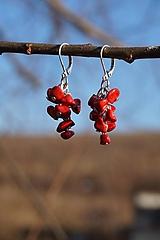 Náušnice - Červené zlomkové - 10437665_