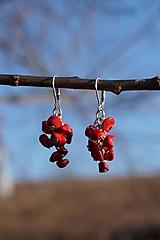 Náušnice - Červené zlomkové - 10437666_
