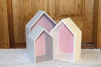 Nábytok - Domčekopoličky v šedo-ružovo-bielej kombinácií - 10436890_