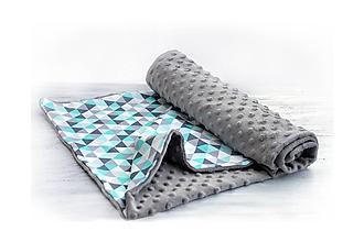 Textil - Minky deka celoročná Triangle & Gray 100x75cm - 10437978_