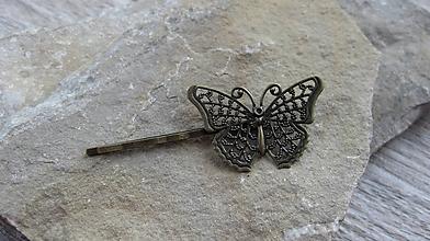 Komponenty - Sponka filigrán motýľ, 1 ks - 10436329_
