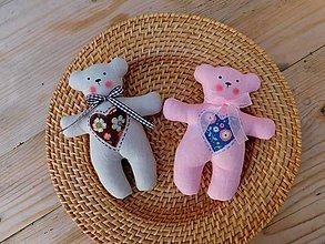 Darčeky pre svadobčanov - Ľanové svadobné medvedíky, 17 cm - 10434779_
