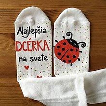 """Topánočky - Detské maľované ponožky s lienkou a nápisom: """"Najlepšia dcérka na svete"""" - 10437907_"""
