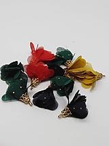 Polotovary - Textilné kvety so zlatou koncovkou - pár - 10436493_