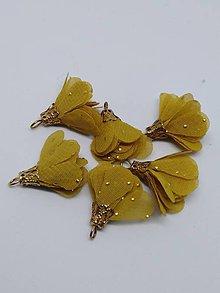 Polotovary - Textilné kvety so zlatou koncovkou - pár (Horčicová) - 10436510_