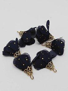 Polotovary - Textilné kvety so zlatou koncovkou - pár (Modrá navy) - 10436511_