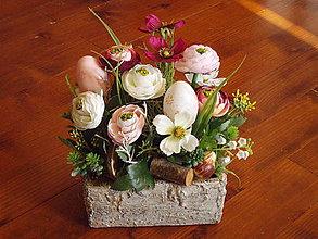 Dekorácie - Veľkonočná dekorácia s vajíčkami v kameninovej nádobe - 10435786_
