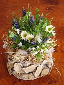 Dekorácie - Jarná dekorácia s modricami a konvalinkami - 10435849_