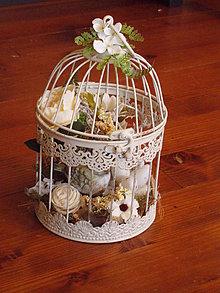 Dekorácie - Veľkonočná klietka s vtáčikom a hniezdom 25cm - 10436225_