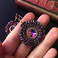 Náušnice - Boho Chic: Šité náušnice fialovo-zlaté - 10436125_