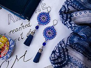 Náušnice - Náušnice Boho: modro-ružové so Swarovski - 10437940_