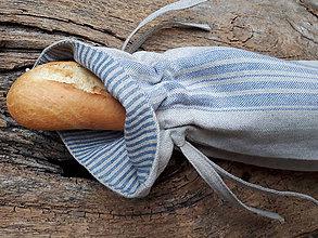 Úžitkový textil - Vrecko na bagety Blue Stripes - 10437592_