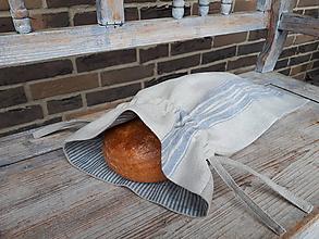 Úžitkový textil - Vrecko na chlieb Blue Stripes - 10437616_