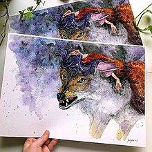 Obrazy - Dáma a vlk, akvarel výtlačok ( art print) - 10436300_