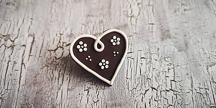 Odznaky/Brošne - medovníkové srdce - brošňa - 10435701_